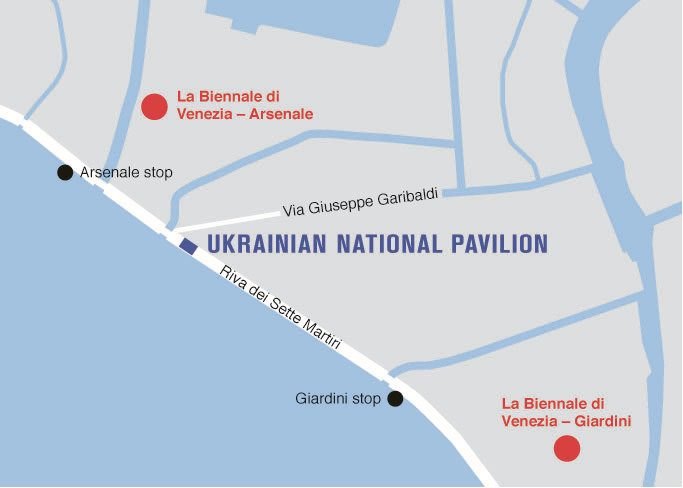 The Ukrainian national pavilion location map